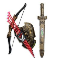 Wholesale New Gift for Children Toys Swords Shiled Bow and Arrow Sword Shield Sucker Simulation Archery Plastic SwordsToy Set