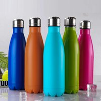 Wholesale 2016 New Design Colorful Double Layer Vacuum Stainless Steel ml Coke Bottle Beer Mug Double layer Creative Cup Healthy Drinking Water