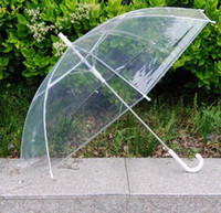 Wholesale 6 Color Automatic Transparent Rain Umbrellas Parasol For Wedding Clear PVC Beach Umbrellas Long Handle Umbrellas Rainproof JJA11