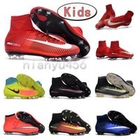 Wholesale 2016 New Original High ankle children MerCURial SuPERfly CR7 soccer shoes youth MaGista OrDen II FG boys football Boots Kids soccer cleats