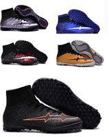 ankle black - Hot original Mercurial Superfly Blue CR7 TF Soccer Shoes Hypervenom Phantom II FG SOCCER Cleats High Ankle Indoor Football Boots