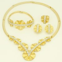 africa shaped earrings - 2016 new fashion beautiful flower shape K gold plated crystal jewelry set Dubai Africa Turkey bride wedding jewelry