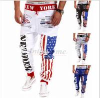 beige slacks men - Men American flag Trousers New York Pants Fashion Men s Casual Sweatpants Baggy Harem Slacks Elastic Jogger Dance Sportwear Feet Pants B326