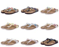 Beach beige leather sandals - 31 color Hot sell summer Men Women flats sandals Cork slippers unisex casual shoes print mixed colors flip flop size