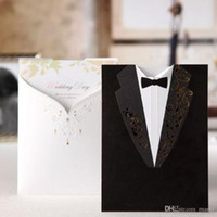 Wholesale 2016 Fashion Wedding Invitations Black Suits style Golden Embroidery White letters Handwritting Words Invitation Cards for Party CW2011