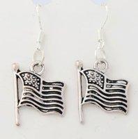 american flag earrings - 2017 hot x14 mm Antique Silver Flag Pendant Earrings Silver Fish Ear Hook Chandelier E299