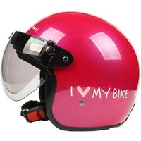 Half Face PP/Plastic Unisex HH#27 Taiwan S-Y-C Free Shipping Motorcycle Helmet Half Face Racing Scooter Bicycle Moto Gloss Rose MY BIKE Casco & UV W Lens Summer Adult