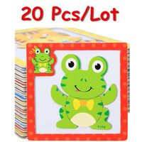 Wholesale D Magnetic Puzzles Wooden Baby Toys Tiger Bear Frog Cartoon Animals Refrigerator Magnet Educational Gift