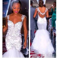 african countries - 2017 African Style Heavy Crystal Mermaid Wedding Dresses Spaghetti Sexy Backless Lace Multi Layer Skirt Country Bridal Gown Custom Made