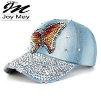 berets baseball cap - Fashion Cotton Jean Caps Women Rhinestone baseball cap Lady JEAN summer hat jean snapback caps denim berets caps