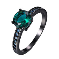 aquamarine emerald ring - 2016 New Fashion Black Gold Plated Finger Rings for Women Wedding Band Emerald Green Aquamarine Crystal CZ Zirconia Party Jewelry CR001