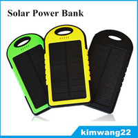 Wholesale 5000mAh Solar Charger and Battery Solar Panel portable for Cell phone Laptop Camera MP4 With Flashlight waterproof shockproof