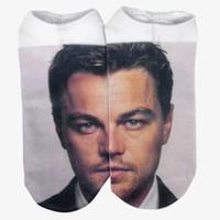anklet socks white - Harajuku Character Socks Leonardo DiCaprio Print Spot Socks d Digital Print Women Men Funny Low Anklet Socks