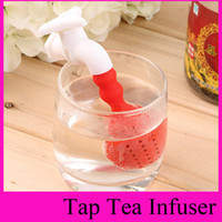 Tea Strainers bag filters for water - 100pcs colors Water Tap Shape Tea Infuser Loose Leaf Strainer Herbal Silicone Diffuser Spice Filter Fred Tea Bag for slimming