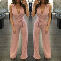 basic office - 2017 Classical Basic Office lady Jumpsuit Women Rompers Pink Work business Jumpsuits sexy V neck Tie ladies Playsuits Overalls