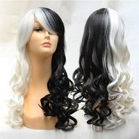 Wholesale Cosplay Lolita Wigs White - 32 inches Long Wavy Full Wigs Lolita Cosplay Wig Black Mix White Kanekalon Costume Party Wig For Halloween