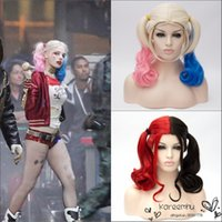 Wholesale 2015 new arrival Mid long length curly ombre pink blue color Harley Quinn double ponytails cosplay wig kanekalon synthetic hair