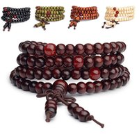 Cheap Pulseras 108 beads 6mm Natural Sandalwood Buddhist Buddha Wood Prayer Bead Mala Unisex Men bracelets & bangles jewelry bijoux