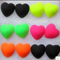 allergy free candy - 2016 the latest fashionable contracted exfoliating light heart shape large personality Sweet candy color plastic charm love allergy free ear