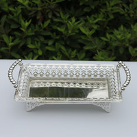 Wholesale luxury silver plated metal tray hollow metal plate
