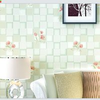 Wholesale 2017 New Country Floral Wallpaper Styles Mosaic Plaid Wall Covering Green Pink Blue Home Living Room Bedroom Decoration