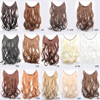 "Cheap 18"" 45cm Flip In (No clips) Long Wavy Curl Secret Miracle Hair Wire Synthetic Heat Resistance Hair Extensions Blonde Brown Black"