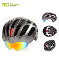 bicycle helmet mirror - BASECAMP Bicycle Helmets With Cycling Glasses Ultralight Breathable Men Women Professional Bike Helmets Mirror Lens H5063