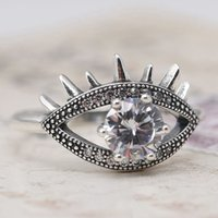 Wholesale Brand New Women s Sterling Silver Pave Clear big Cubic Zirconia CZ Evil Eye ring Elegant Band
