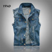 Wholesale Fall YPAD New Fashion Mens Denim Vest Vintage Sleeveless washed jeans waistcoat Man Cowboy ripped Jacket Plus Size XL XL