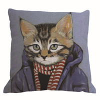 Wholesale 10 designs animal cat in human clothes cushion cover creative cojines modern almofadas cm sofa throw pillow case home decor