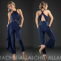 apple suits - Rachel Allan Cheap Evening Dresses Dark Navy Sleeveless Hollow Back Formal Wear Ankle Length Custom Made Party Pants Suit
