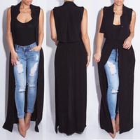 Wholesale Women Bohemian Chiffon Black Sleeveless Cardigan Jacket Coat Long Maxi Dress Sundress Beach Wear