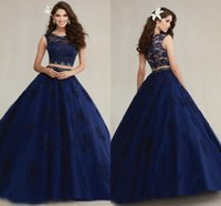 achat en gros de modestes 16 robes douces-2016 New Deux Pièces Lace Quinceanera Robes Jewel Appliques Perles robe de bal douce 15 Modest Dark Navy Modest Prom Party robes Vestidos