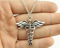 antique cane - WYSIWYG fashion antique silver tone mm Caduceus Medical cane pendant necklace cm chain long necklace