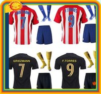 atletico madrid real - DHL Mixed buy real Atletico Madrid Jersey kits socks Home red Away black Soccer uniform sets GRIEZMANN F TORRES JACKSON KOKE footbal