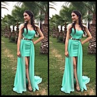 apple store size - New Design Green Homecoming Dresses Short Front Long Back With Sashes Detachable Train Prom Party Dress Online Store