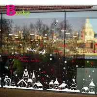 Wholesale Christmas shop window glass decoration wall sticker Christmas snowflake town can be removed