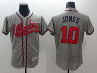Wholesale 2016 New Men Atlanta Braves Jones Grey Gray Majestic MLB Baseball Jersey Stitched Name Number
