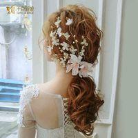 beaded hair ties - 2016 New Style Hot Sell Pearl Crystal Hand Beaded Floral Wedding Bridal Hair Accessories Headwear Headbands Tie Backs Real photo