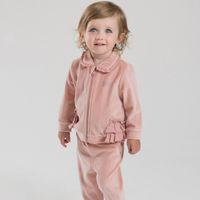 bella jacket - DAVE BELLA Spring Autumn Velvet children kid baby girl casual princess clothing set outfit long sleeve coat jacket pant home wear