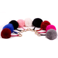 Wholesale 9CM Real Rabbit Fur Ball KeyChains Soft Keyring For Lovers Ball Keyring Phone Accessories car Bag Charm Decoration Pendant Chaveiro Pom Pom