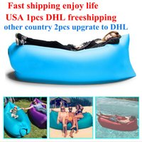 Cheap Lamzac Hangout Fast Inflatable Lounger Air Sleep Camping Sofa KAISR Beach Nylon Fabric Sleeping Bag Bed Lazy Chair outdoor DHL Free Shipping