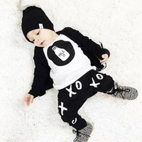 Wholesale 2016 Summer Style Infant Clothing Sets Baby Boy Cotton Printed Cartoon Letters Long Sleeves Children Clothing Set GI2090