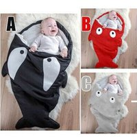 Wholesale Shark sleeping bag Newborns sleeping bag Winter Strollers Bed Swaddle Blanket Wrap cute Bedding baby sleeping bag
