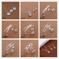 Wholesale Women s gemstone sterling silver jewelry sets sets a mixed style EMS65 fashion silver Necklace Bracelet Earring Ring jewelry set