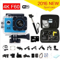 Wholesale Original F60 Ultra k Action Sport Camera Wifi Lcd Degree Wide Lens Helmet Cam m Underwater Waterproof sports camera
