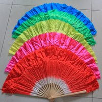 Wholesale Chinese style silk veil belly dance fan bamboo frame silk hand fan with colors available