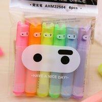 Wholesale 6 Cute Kawaii Mini Highlighter Creative Lovely Cartoon Ninja Rabbit gel Pen for Kids Korean Stationery
