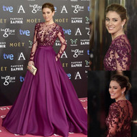 Wholesale Satin Beaded Long Formal Dress - Zuhair Murad Burgundy Long Evening Dresses Beads Sheer Neck Long Sleeves Illusion Bodice Sequins Runaway Red Carpet Formal Prom Party Gowns