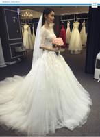 Wholesale 2016 Tull Applique Lace up A Line Half Sleeve Bateau Neckline Lace Appliques Wedding Dresses In Stock
